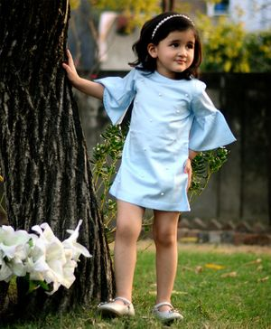 Piccolo Three Fourth Bell Sleeves Pearl Detailed Dress - Blue