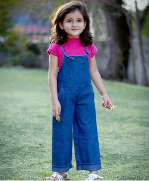 Piccolo Solid Half Sleeves Tee & Denim Dungaree Set - Blue & Pink