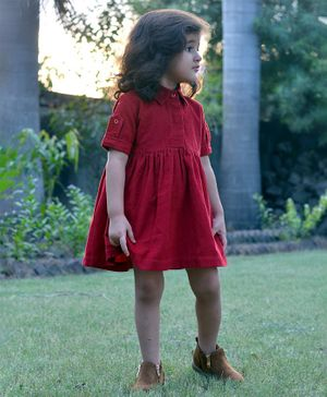 Piccolo Half Sleeves Collar Neck Dress - Red