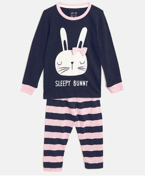 Little Marine Full Sleeves Bunny Print Night Suit - Navy Blue