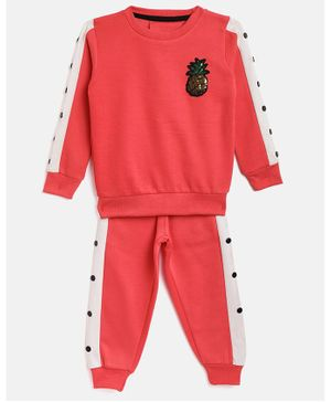 Little Marine Full Sleeves Pineapple Patch Side Taped Sweatshirt With Track Pants - Red