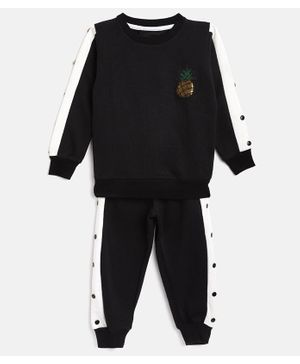 Little Marine Full Sleeves Pineapple Patch Side Taped Sweatshirt With Track Pants - Black