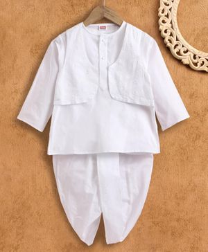 Babyhug Full Sleeves Kurta and Dhoti Set with Embroidered Jacket - White