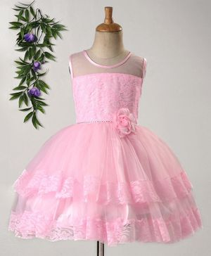 Babyhug Sleeveless Party Wear Frock Corsage Flower - Pink