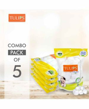 Tulips Premium White Cotton Balls Pack of 5 - 50 Pieces Each