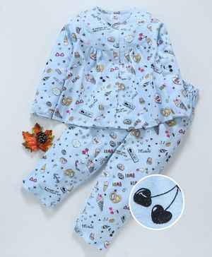 Ollypop Full Sleeves Printed Night Suit Heart Print - Blue