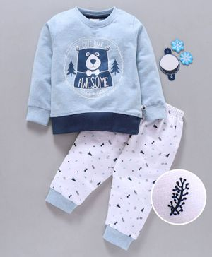Ollypop Full Sleeves Tee And Lounge Pant Cute Bear Print - Light  Blue White