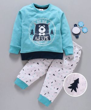 Ollypop Full Sleeves Tee And Lounge Pant Cute Bear Print - Blue White