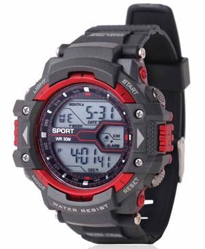Skylofts Digital Watch With 7 Color Lights - Red Black