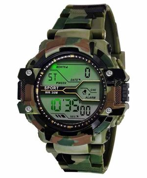 Skylofts Digital Watch With 7 Color Lights - Green