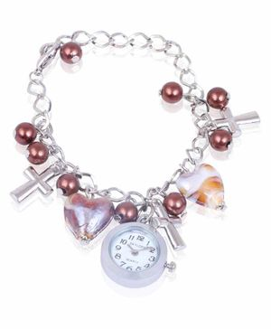 Skylofts Copper Pearl Hanging Charm Analogue Watch - White Pink