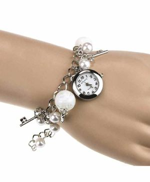 Skylofts White Pearl Hanging Charm Analogue Watch - White