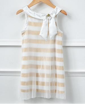One Friday Sleeveless Striped Dress - Off White