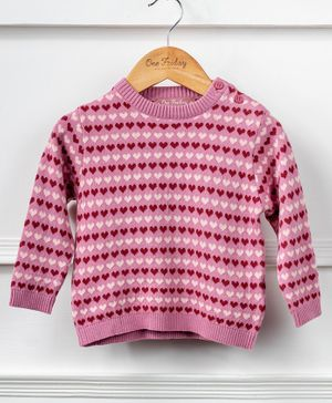 One Friday Full Sleeves Heart Print Sweater - Pink