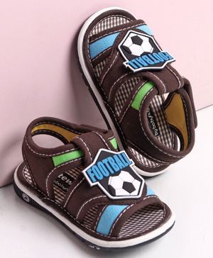 Cute Walk by Babyhug Sandals with Velcro Closure Football Patch -Brown