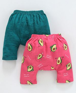 Earth Conscious Pack Of 2 Avocado Printed Diaper Pants - Peach & Dark Green