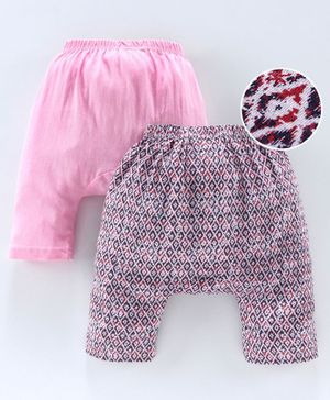Earth Conscious Pack Of 2 Printed Elasticated Diaper Pants - Pink