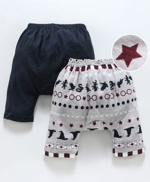 Earth Conscious Pack Of 2 Specs & Star Printed Elasticated Diaper Pant - Black & Grey