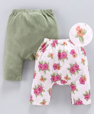Earth Conscious Pack Of 2 Flowers Printed Elasticated Diaper Pant - Multicolor
