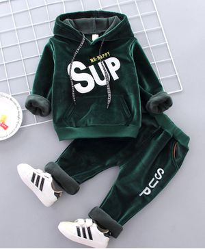 Pre Order - Awabox Text Patch Full Sleeves Hoodie With Pants - Green