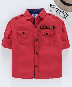 TONYBOY Full Sleeves Racing Patch Detailed Shirt - Red