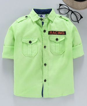 TONYBOY Full Sleeves Racing Patch Detailed Shirt - Light Green