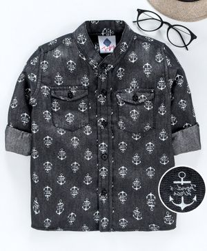TONYBOY All Over Anchor Printed Full Sleeves Shirt - Black
