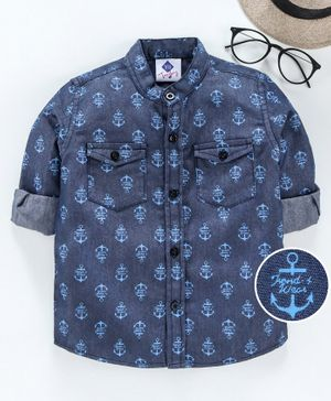 TONYBOY All Over Anchor Printed Full Sleeves Shirt - Dark Blue
