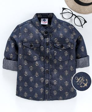TONYBOY All Over Anchor Printed Full Sleeves Shirt - Navy Blue