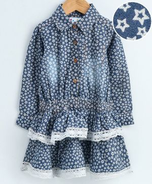 Eimoie All Over Flower Printed Full Sleeves Layered Dress - Blue