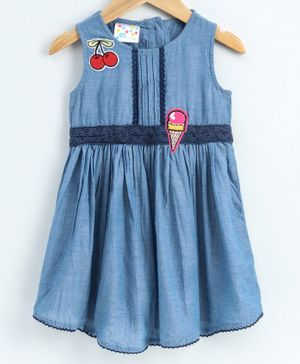 Eimoie Sleeveless Cherry & Ice Cream Patch Detailed Dress - Blue