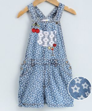 Eimoie All Over Star Printed Sleeveless Dungaree - Blue
