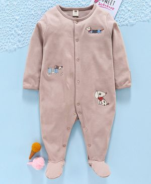 ToffyHouse Full Sleeves Sleep Suit Puppy Embroidery - Brown