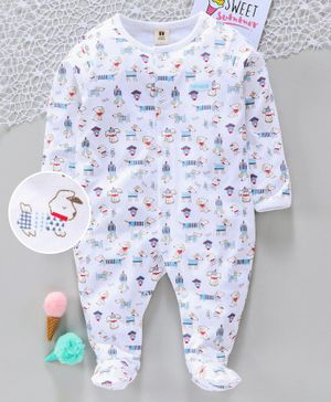 ToffyHouse Full Sleeves Sleep Suit Doggy Print - White