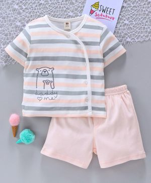 ToffyHouse Tee & Shorts Bear Patch - Peach Grey White