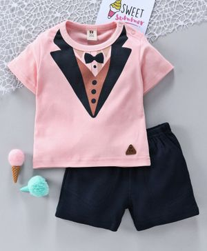 ToffyHouse Half Sleeves Tee & Shorts Suit Print - Navy Pink
