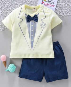 ToffyHouse Half Sleeves Tee & Shorts Suit Print - Navy Green