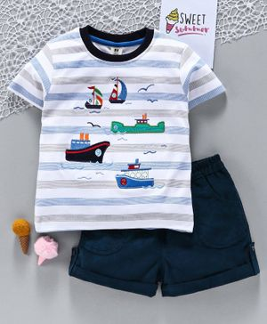 ToffyHouse Half Sleeves Tee & Shorts Boat Embroidered - White Navy