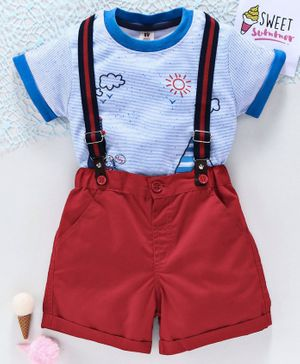ToffyHouse Half Sleeves Tee with Shorts & Suspender - Blue Red