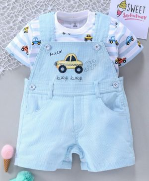 ToffyHouse Dungaree Style Romper with Half Sleeves Striped Tee Car Embroidered - Light Blue