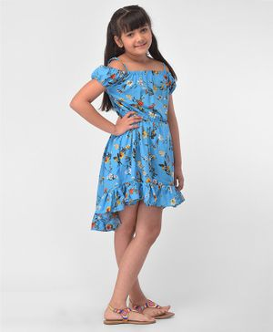 M'andy Flowers Printed Cold Shoulder Half Sleeves High Low Dress -  Blue