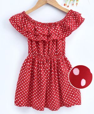 M'andy Polka Dot Printed Off Shoulder Half Sleeves Fit & Flare Dress - Red