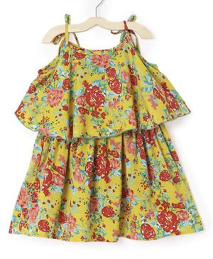 M'andy Half Sleeves Floral Print Cold Shoulder Dress - Yellow