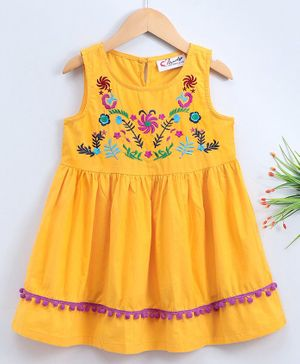 M'andy Flower Embroidered Tassel Decorated Sleeveless Fit & Flare Dress - Yellow