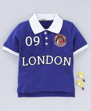 Adams Kids London Embroidered Half Sleeves T-Shirt - Blue