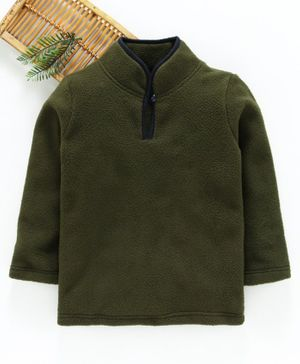 Hugsntugs Solid Full Sleeves Winter Tee - Green