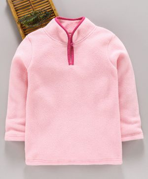 Hugsntugs Solid Full Sleeves Winter Tee - Baby Pink