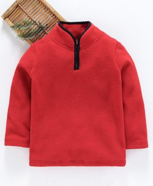 Hugsntugs Solid Full Sleeves Winter Tee - Red