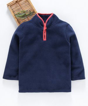 Hugsntugs Solid Full Sleeves Winter Tee - Navy Blue