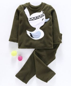 Hugsntugs Duckling Patch Detailed Full Sleeves Night Suit - Green